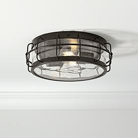 Aya 13 1 4 Wide Bronze Caged Metal Ceiling Light