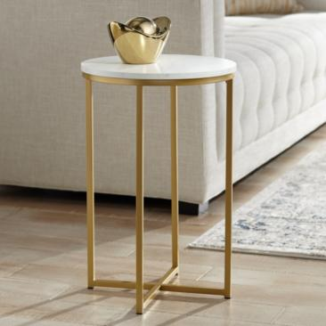 "Aurelia 16"" Wide Faux Marble and Gold Modern Side Table"