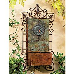 "Ibizi 33"" High Iron Scroll Rustic Traditional Wall Fountain"