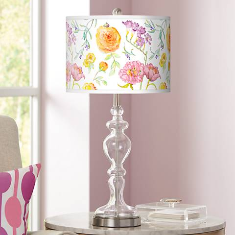 Spring Garden Giclee Apothecary Clear Glass Table Lamp