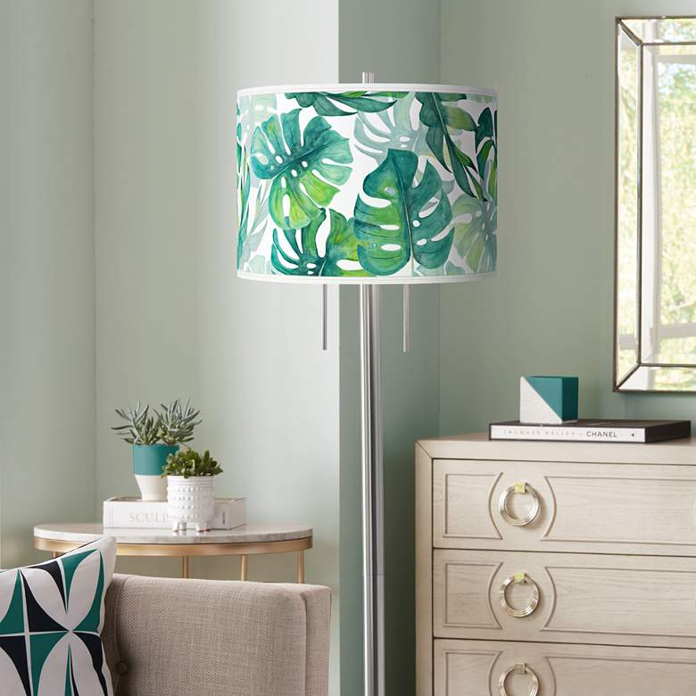 Tropica Giclee Brushed Nickel Garth Floor Lamp