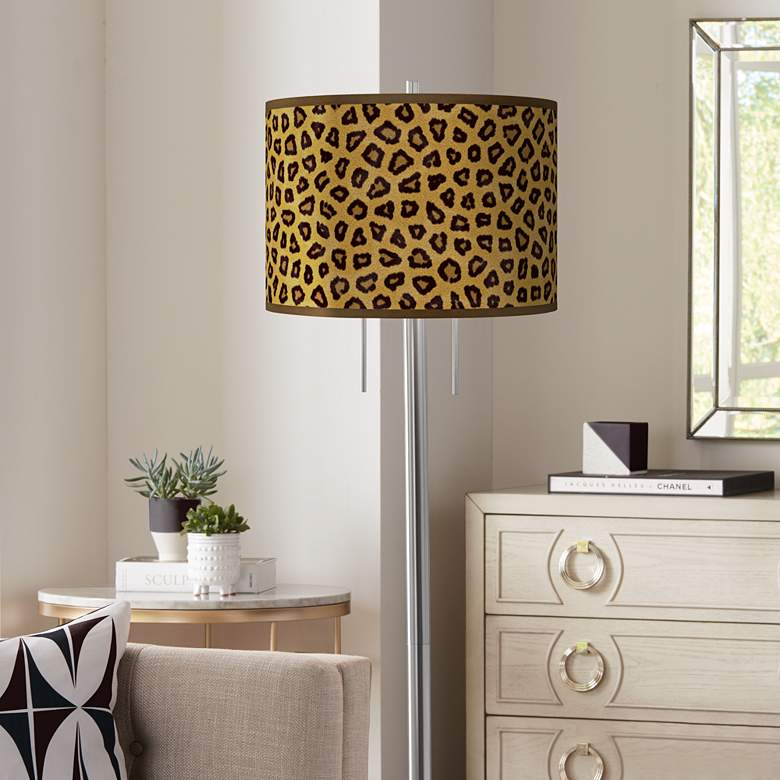 Safari Cheetah Giclee Brushed Nickel Garth Floor Lamp