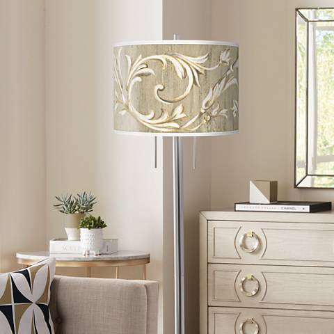 Laurel Court Giclee Brushed Nickel Garth Floor Lamp