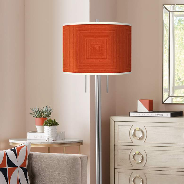 Stacy Garcia Crackled Coral Nickel Garth Floor Lamp