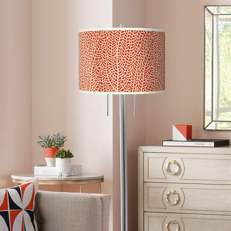 Stacy Garcia Seafan Coral Giclee Nickel Garth Floor Lamp