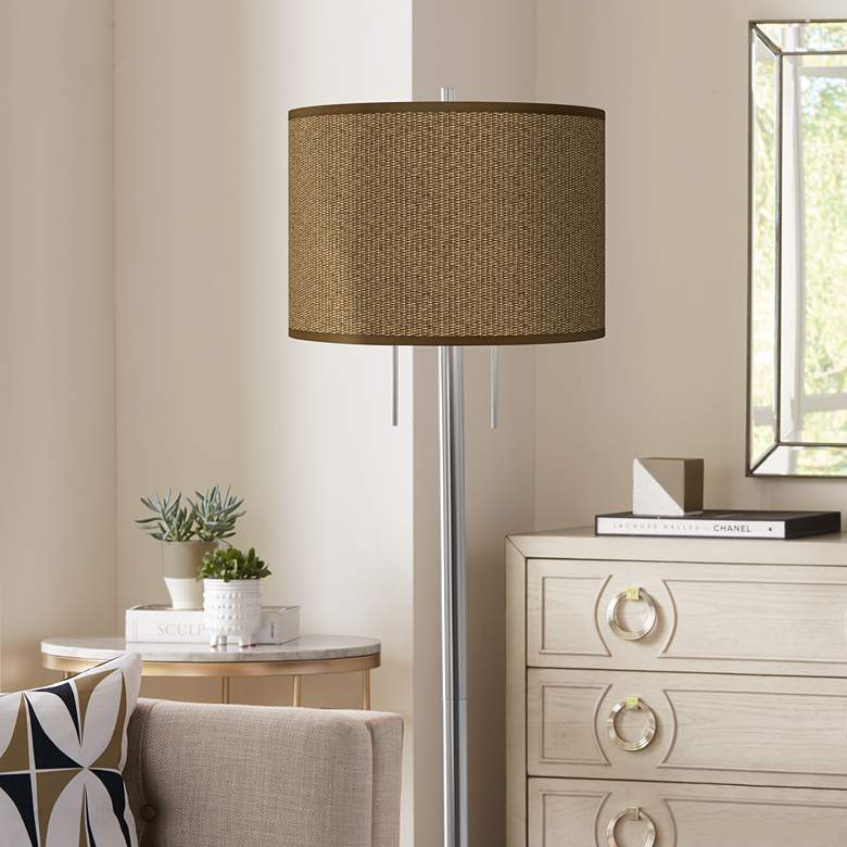 Khaki Giclee Brushed Nickel Garth Floor Lamp