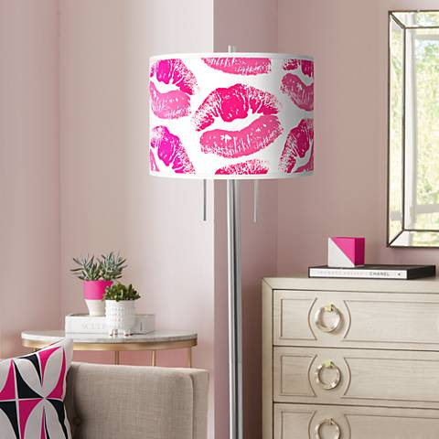 Hot Lips Giclee Brushed Nickel Garth Floor Lamp