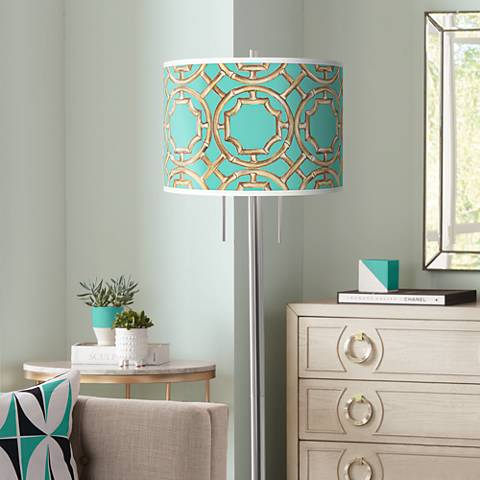 Teal Bamboo Trellis Giclee Brushed Nickel Garth Floor Lamp