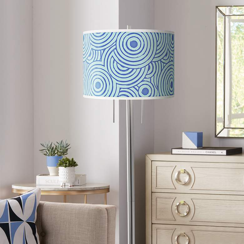 Circle Daze Giclee Brushed Nickel Garth Floor Lamp
