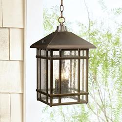 "J du J Sierra 16 1/2""H Bronze Outdoor Hanging Light"
