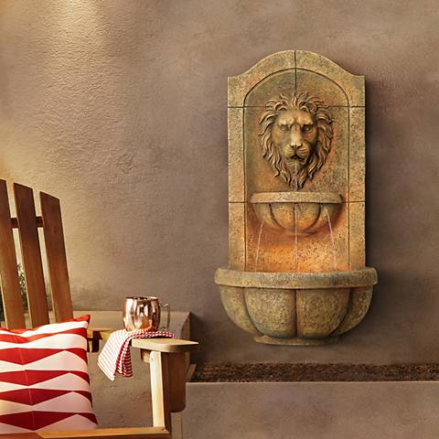 "Lion Head Faux Stone 29 1/2"" High LED Wall Fountain"
