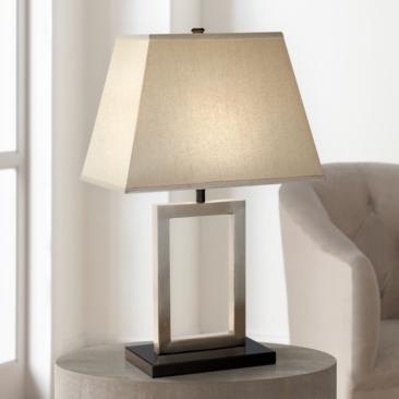Brushed Nickel Open Window Accent Table Lamp