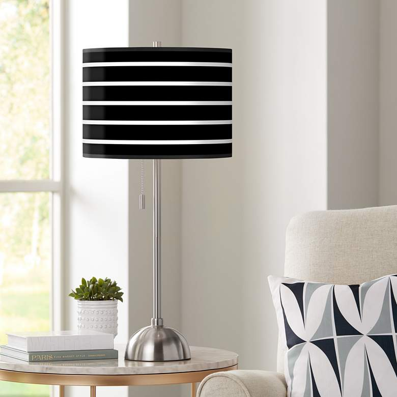 Giclee Bold Black Stripe Table Lamp