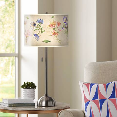 Floral Fancy Giclee Brushed Steel Table Lamp