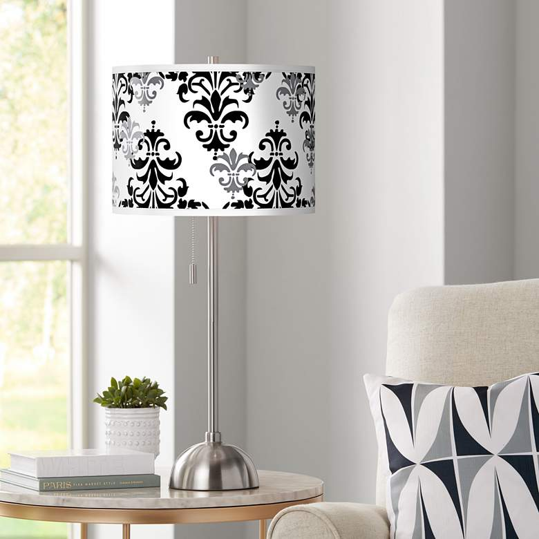 Damask Shadow Giclee Brushed Nickel Table Lamp