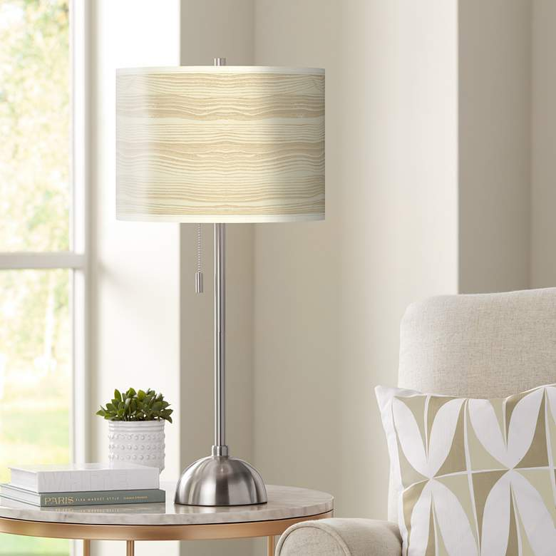 Birch Blonde Giclee Brushed Nickel Table Lamp