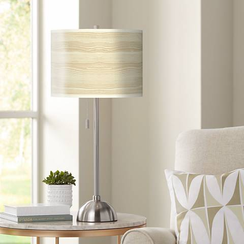 Birch Blonde Giclee Brushed Steel Table Lamp