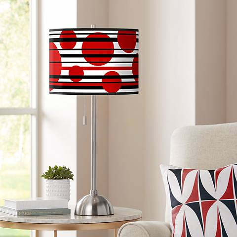 Red Balls Giclee Shade Table Lamp