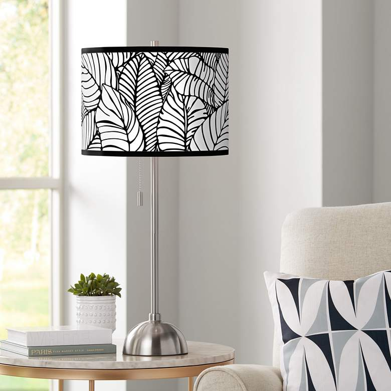 Tropical Leaves Giclee Brushed Nickel Table Lamp