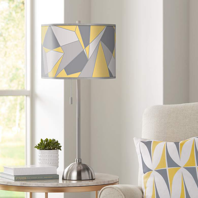 Modern Mosaic II Giclee Brushed Nickel Table Lamp