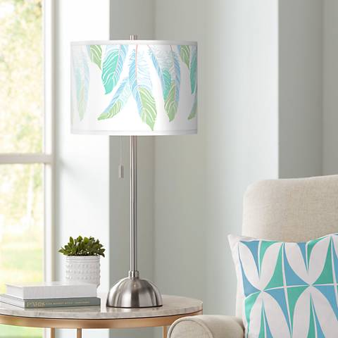 Light as a Feather Giclee Brushed Steel Table Lamp