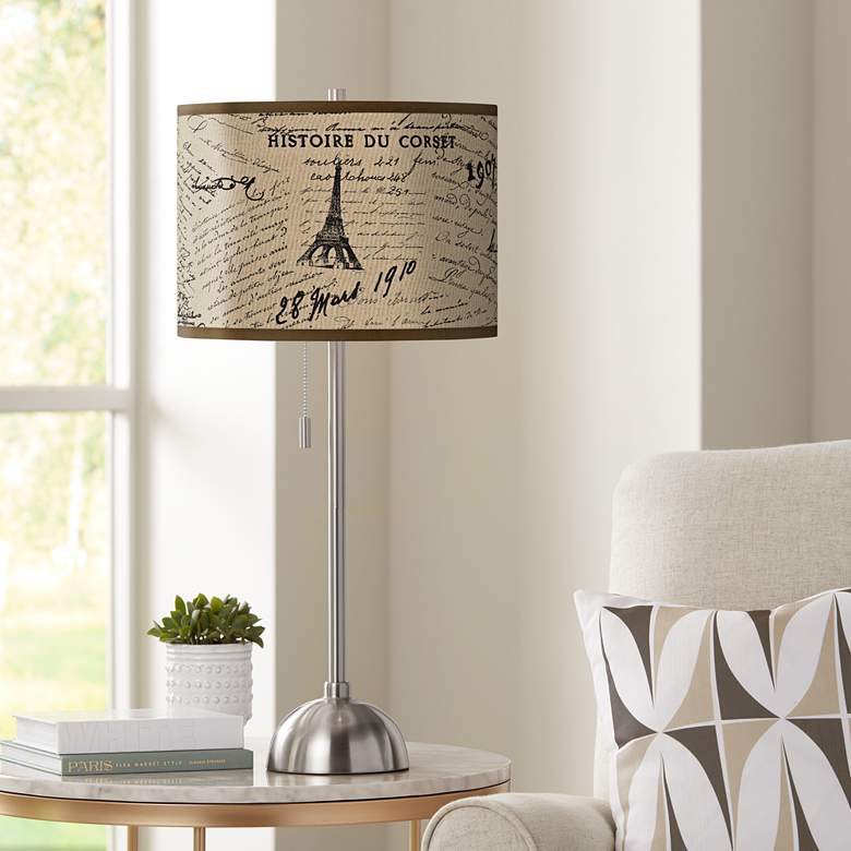 Letters to Paris Giclee Brushed Nickel Table Lamp