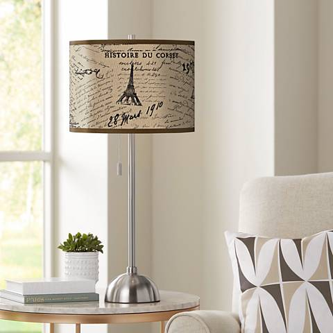 Letters to Paris Giclee Brushed Steel Table Lamp