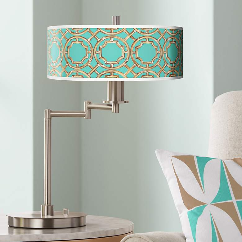 Teal Bamboo Trellis Giclee CFL Swing Arm Desk Lamp