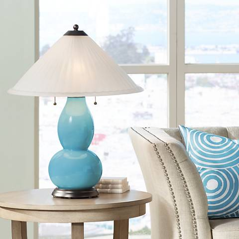 Nautilus Fulton Table Lamp with Fluted Glass Shade