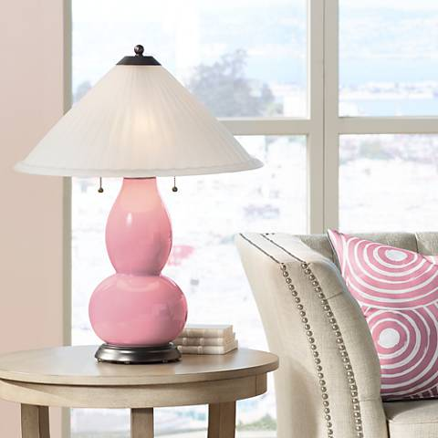 Haute Pink Fulton Table Lamp with Fluted Glass Shade