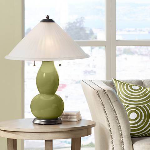 Rural Green Fulton Table Lamp with Fluted Glass Shade