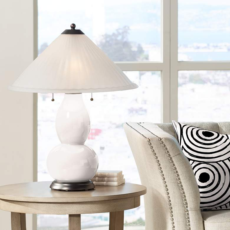 Smart White Fulton Table Lamp with Fluted Glass Shade