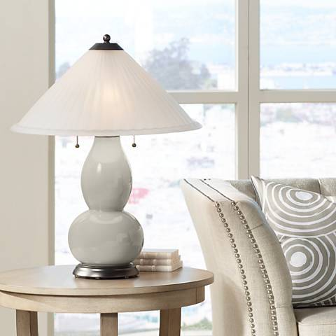 Requisite Gray Fulton Table Lamp with Fluted Glass Shade