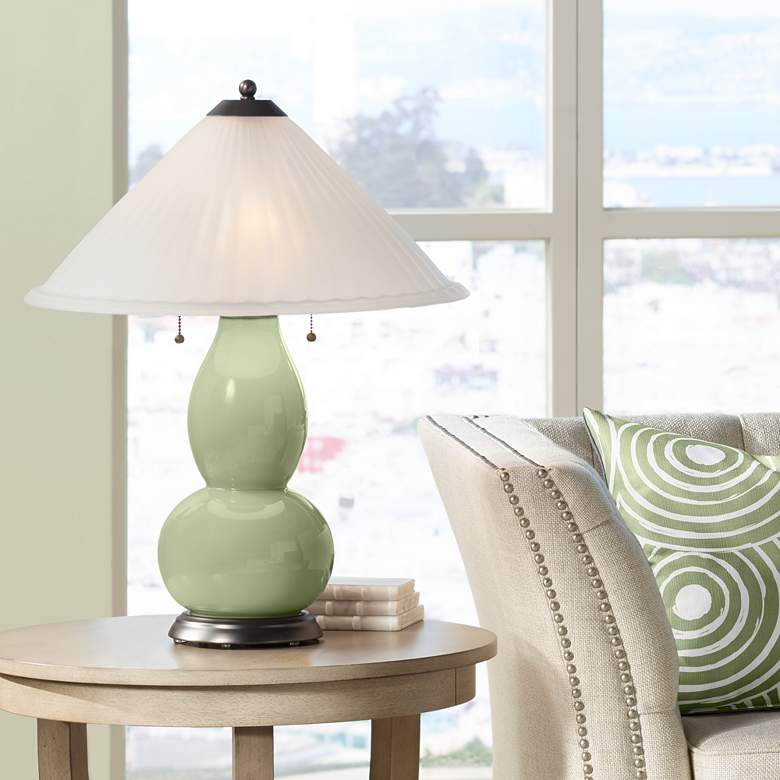 Majolica Green Fulton Table Lamp with Fluted Glass Shade