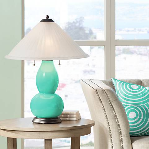 Turquoise Fulton Table Lamp with Fluted Glass Shade