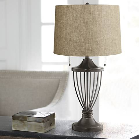 Tan Woven Shade Bronze Urn Table Lamp