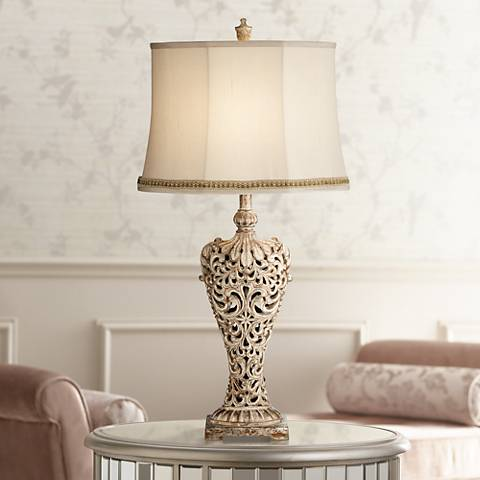 Elle Gold Table Lamp with Two Tone Braid Trim