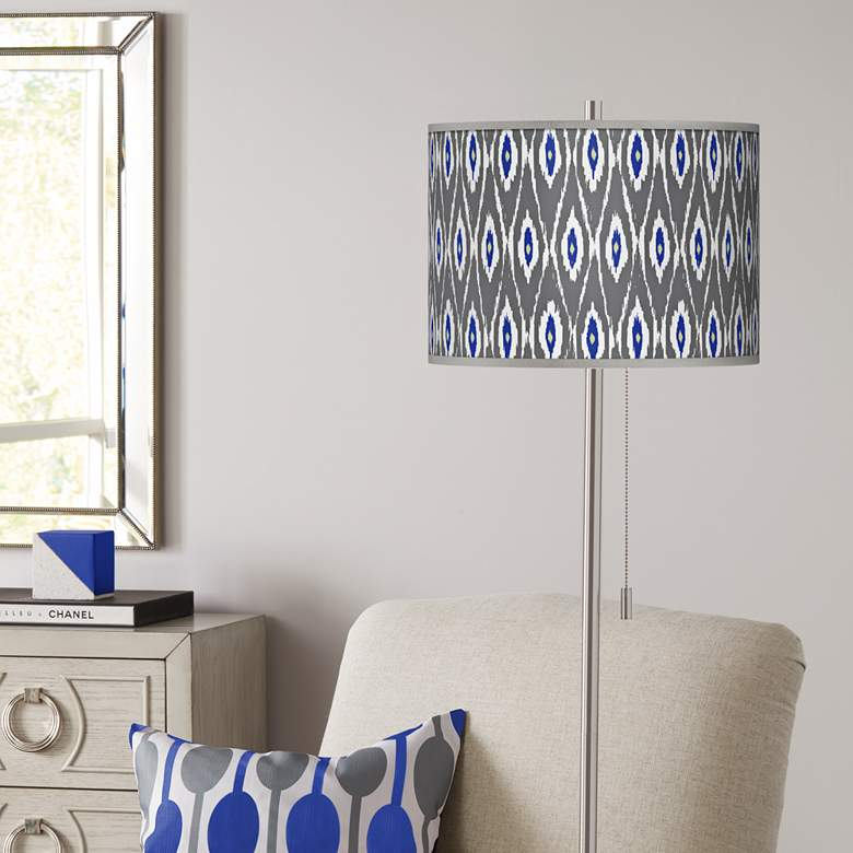 American Ikat Brushed Nickel Pull Chain Floor Lamp