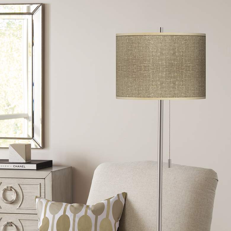 Burlap Print Giclee Contemporary Floor Lamp