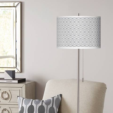 Diamonds Brushed Nickel Pull Chain Floor Lamp