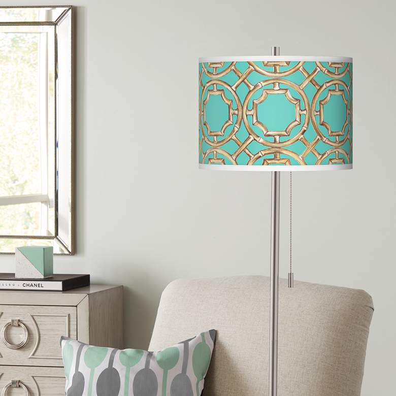 Teal Bamboo Trellis Brushed Nickel Pull Chain Floor Lamp