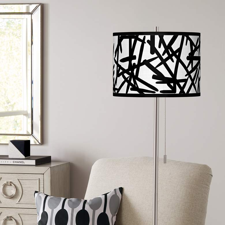 Sketchy Brushed Nickel Pull Chain Floor Lamp