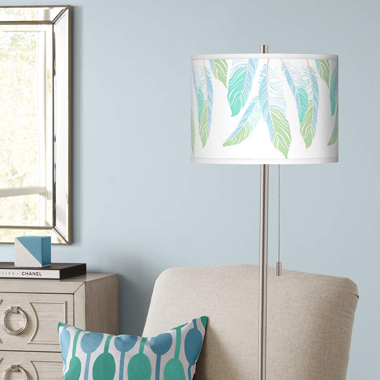 Light as a Feather Brushed Nickel Pull Chain Floor Lamp