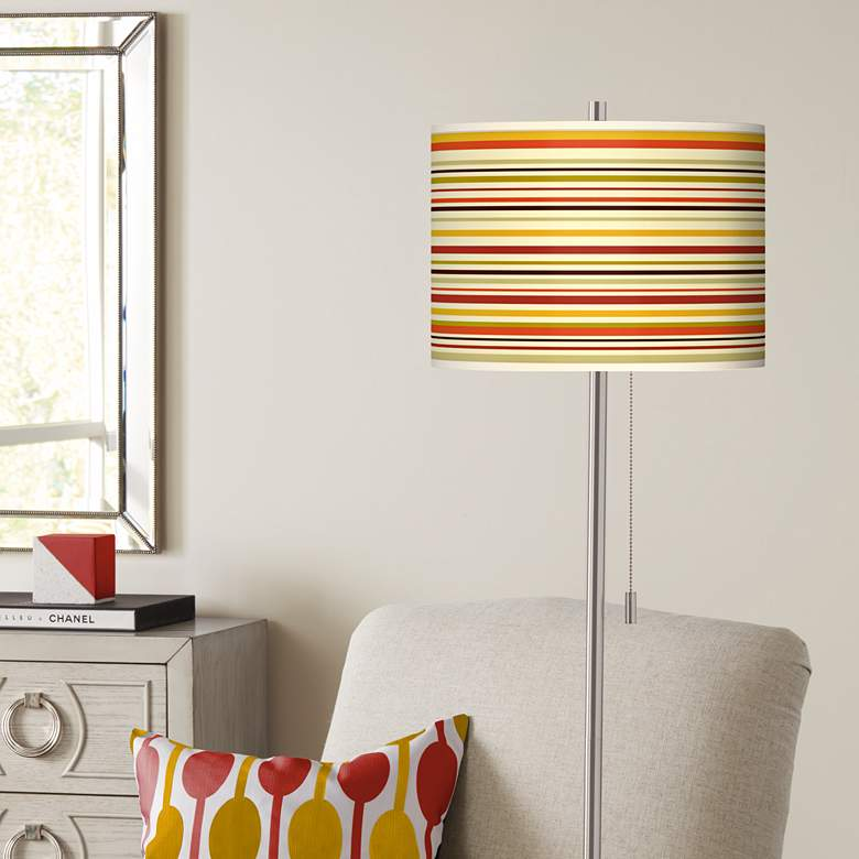 Stacy Garcia Lemongrass Stripe Brushed Nickel Floor Lamp