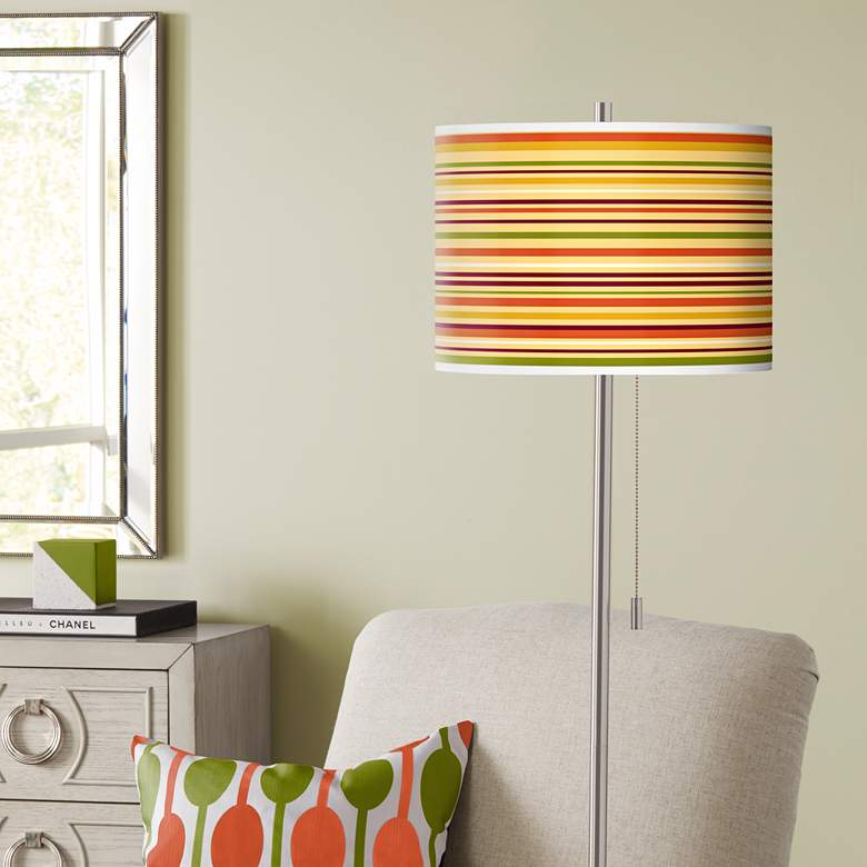 Stacy Garcia Harvest Stripe Giclee Brushed Nickel Floor Lamp