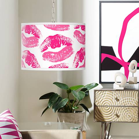 Swag Style Hot Lips Giclee Shade Plug-In Chandelier