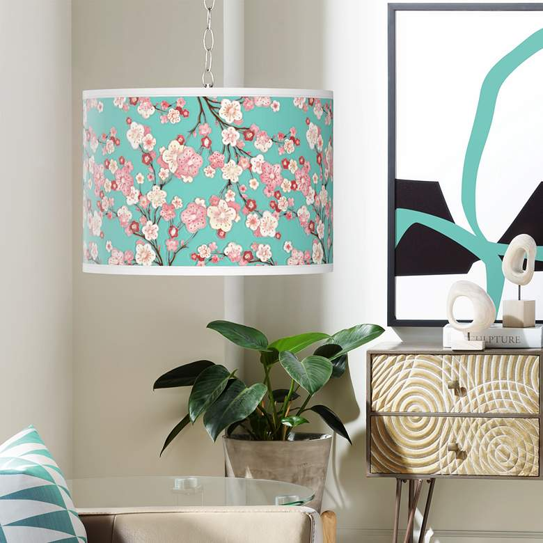 Swag Style Cherry Blossoms Giclee Shade Plug-In Chandelier
