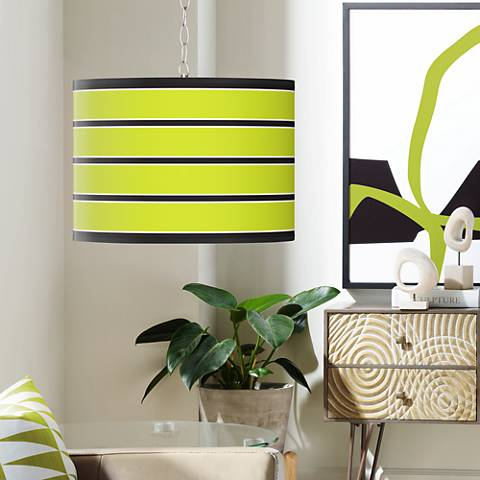 Swag Style Bold Lime Green Stripe Shade Plug-In Chandelier
