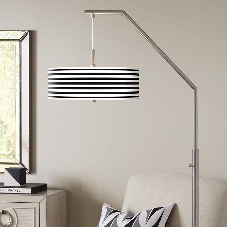 Black Horizontal Stripe Giclee Shade Arc Floor Lamp