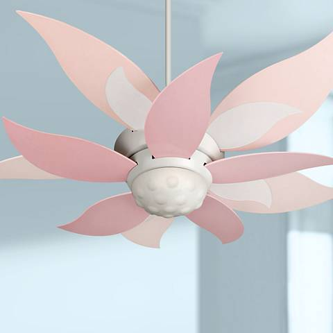 "52"" Craftmade Bloom Pink and White Ceiling Fan with Light"